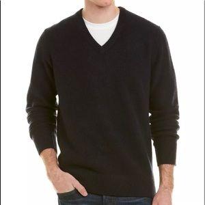 Vince Mens V-Neck Cashmere Sweater, XL, Blue